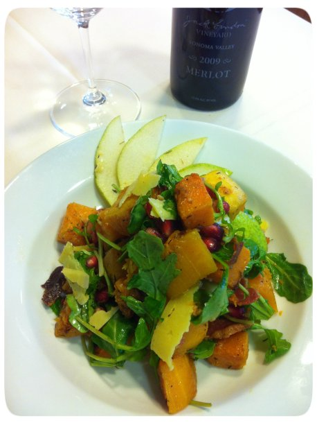 Butternut Squash with Pancetta, Pomegranate Seeds, Arugula, Pears and Asiago Cheese