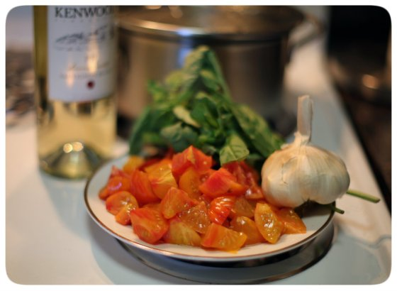 Tomatoes, Garlic, Basil, Wine