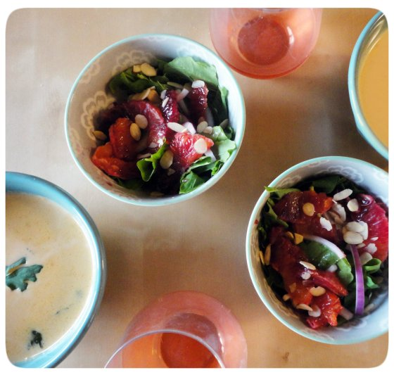 Coconut Soup & Blood Orange Salad