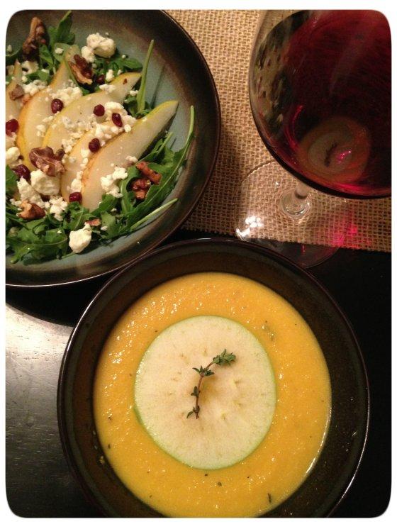 Apple Butternut Squash Soup & Salad