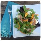 Peach, Prosciutto, Burrata Salad